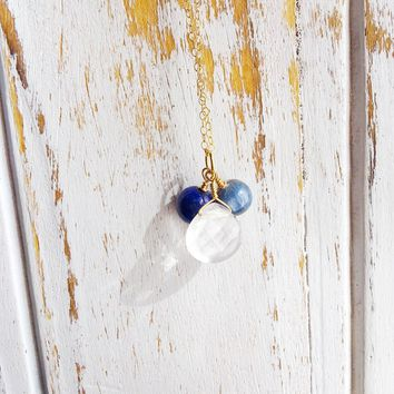 Protection & Stress Relief ~ Crystal Quartz, Kyanite and Lapis Lazuli Gold Filled Necklace