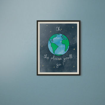 Oh the places you will go wall art, Outer Space Nursery Wall Art, Watercolor Baby Boy Nursery print, 8x10 print