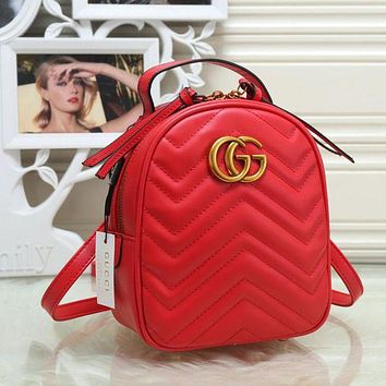 Gucci Trending Pure Color Leather Double G Bookbag Shoulder Bag Handbag Backpack Red I