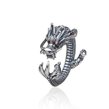 Drop shipping Creative trend domineering dragon opening ancient silver plated wedding ring with Red eyes Vintage jewelry