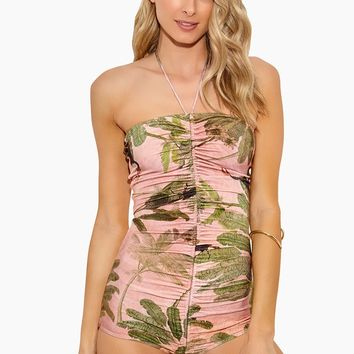 Toucan Strapless One Piece Swimsuit - Rose Salmon