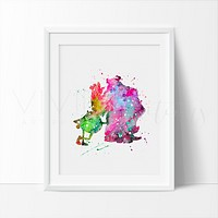 Mike & Sulley Watercolor Art Print