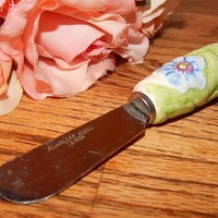 Spreader Knife Ceramic Handle Stainless Steel Blade Tableware Floral Garden Luncheon Tea Party Casual Entertaining Accessory Free Shipping