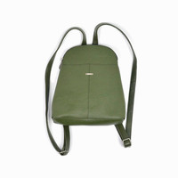 Vintage 90s Green Pleather Mini Backpack / 1990s Mini Backpack / Asparagus Green Backpack