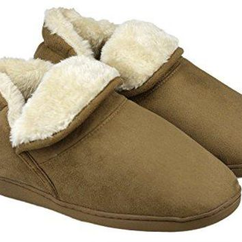 Dasein Women Soft Faux Fur Lined Suede House Slippers Memory Foam Slippers AntiSkid Winter Indoor Outdoor Bootie Boot