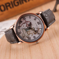 Vintage World Map Leather Strap Band Watch