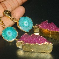 24Kt Gold Edged Druzy Earring, Gold Filled Druzy Earring, Gold Vermeil Earring