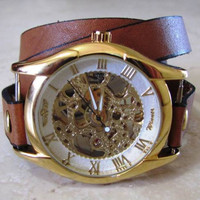 Handmade Wrap Bracelet Gold Watch with a unique stable leather band. 20% Off - 79 Dollars Only FREE SHIPPING.
