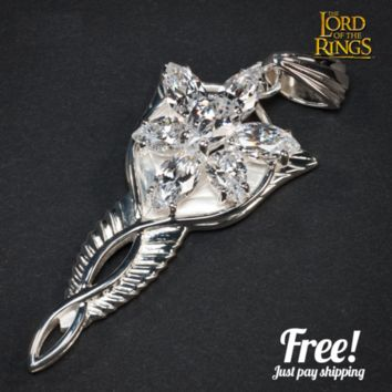 The Lord Of The Hobbit silver long Arwen Evenstar pendant necklace