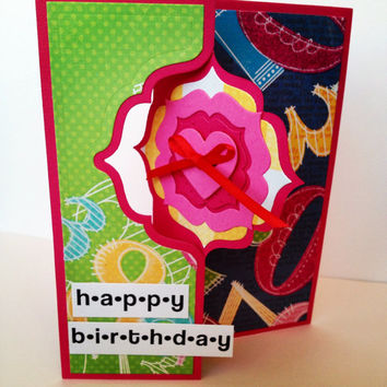 Handmade card, happy birthday, flip front, flip card, tumbling numbers, pink, apple green, blue, sparkles, birthday card, greeting card