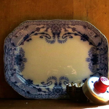 Antique Flow Blue Platter, Serving Dish, Burgess and Leigh, Burslem, England, Raleigh, Floral Pattern, Blue and White Cottage Decor