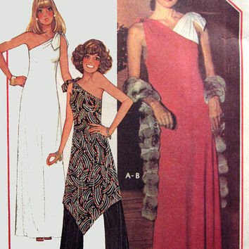 1970s Vintage Sewing Pattern McCalls 5371 American Hustle One Shoulder Dress or Tunic with Pallazzo Pants Size 14-16 Bust 36-38 UNCUT