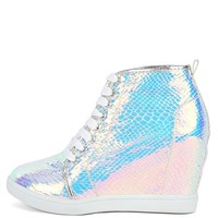 Bumper Nicholas-08 Hologram Wedge Sneakers | MakeMeChic.com