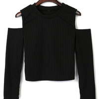 Black Cold Shoulder Crop Tight Knitted Sweater