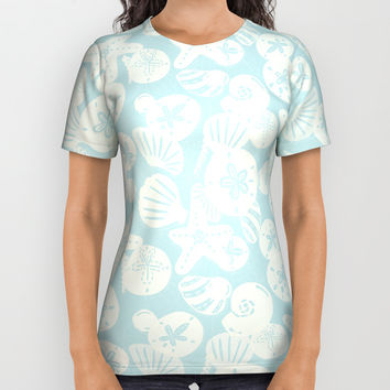 Cream Seashells on Aqua All Over Print Shirt by Noonday Design