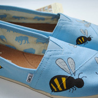 Hand Painted TOMS in a Bumble Bee Design, Custom Hand Painted Shoes