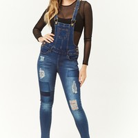 Distressed Skinny Denim Overalls