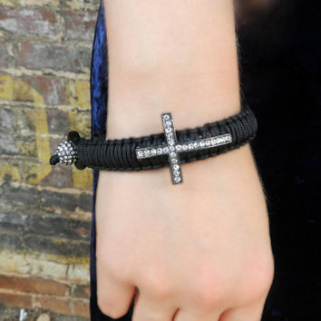 Black Leather Cross Bracelet, Stacking Leather Bracelet, Macrame Bracelet, Leather Cuff, Leather Bangle, Boho Bracelet
