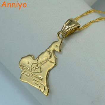 Anniyo Cameroon map pendant necklace chain W/45cm or 60cm gold color jewelry women men,Africa jewelry cameroun necklaces