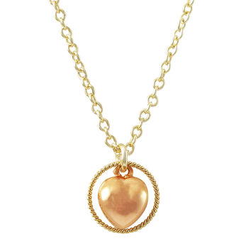 Rose Plated Brass Puffy Heart Charm In Braided Circle, Gold Plated Brass Chain Necklace