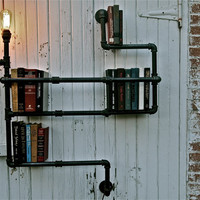 Industrial Pipe Shelf with Lighting