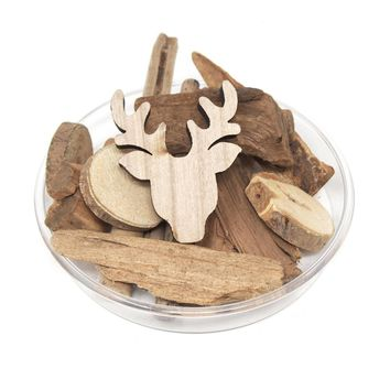 Decorative Christmas Bowl Vase Filler Wood Shapes, Deer