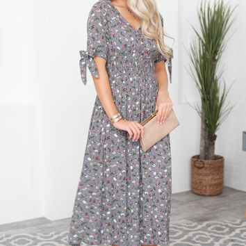 Aurora Floral Long Fit Dress | Gray