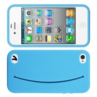 MiniSuit Cute Feed Me Smiley Silicone Case + Pocket + Stickers for iPhone 4, 4S (Blue). LCD Cleaner Included