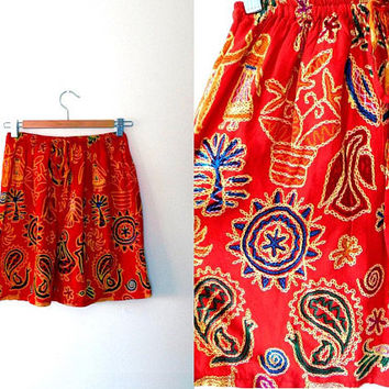 Red multi coloured print skirt / yellow / green / blue / orange / sun / birds / flowers / dancers / vintage / drawstring cotton summer skirt