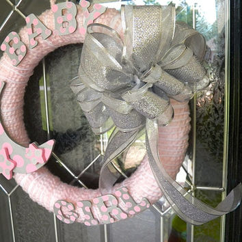 Pink and gray baby shower wreath nursery from southernsasshd for Baby shower front door decoration ideas