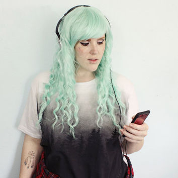 Green wig. Long Wavy Pastel Teal wig. Scene Hipster Hair - Sugarmint