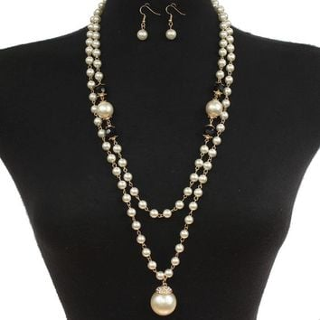 "56"" faux 1"" pearl pendant glass black beads layered necklace .75"" earrings"
