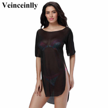 Sexy women lace mesh sheer sarong beach cover up bikini cover ups cover-ups bathing suit swimwear dress swimsuit vestido V68