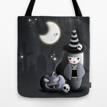 Halloween Theme [Japanese Kokeshi Doll as a Witch] Tote Bag by cafelab