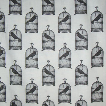 Back and White Nevermore Birdcage Print from Michael Miller Pure Cotton Fabric--One Yard
