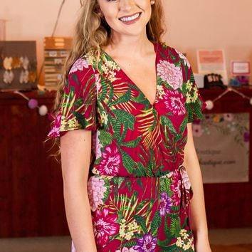 Tropical Days Romper, Fuchsia