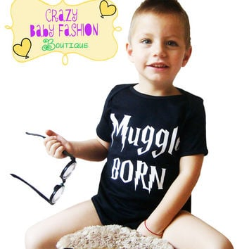 Muggle BORN baby bodysuit, Black funny baby creeper romper Muggle born, muggle born, cute baby shower gift, neutral baby gift