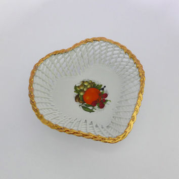 Romanian Heart Dish, Porfin Porcelain, Heart Shaped Dish, Lattice Bowl, White Gold Heart, Fruit Motif, Heart Trinket Dish