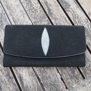 NEW WOMEN'S TRIFOLD CLUTCH LADIES BLACK WALLET BAG GENUINE STINGRAY SKIN LEATHER