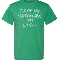 RoAcH Prone to Shenanigans & Malarky T-shirt | Unisex Men's Funny St Patrick's Day Party Tee