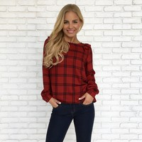 Hometown Girl Plaid Top in Red