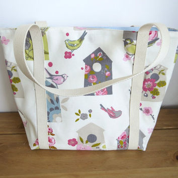 Handmade Tote Bag - Knitting Bag - Re-usable Shopping Bag - Shoulder Bag - Birdhouse Fabric - Gift For Mum, Women's Fabric Handbag