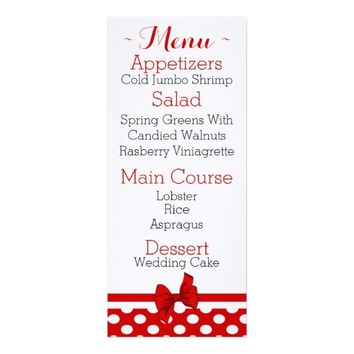 Cute Red & White Polka Dot Wedding Reception Menu Card