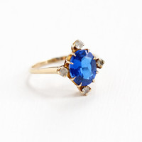 Vintage 10k Yellow Gold Created Blue & White Spinel Stone Ring - 1940s Size 8 1/2 Oval Simulated Coblat Blue Sapphire Fine Statement Jewelry