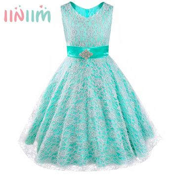11 Color Kids Teenager Dress Birthday Party Ball Gown Pageant Graduation Dress Girl Floral Lace Rhinestone Vestidos Formal Dress
