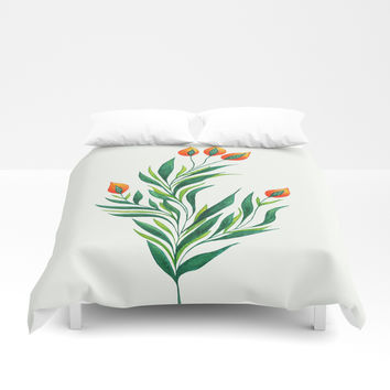 Abstract Green Plant With Orange Buds Duvet Cover by borianagiormova