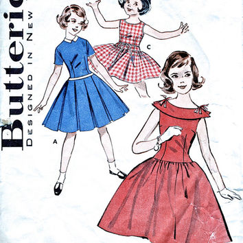 1950's Girls' Dress - Vintage Sewing Pattern - Full Skirt Dress / Party Dress - Butterick 9285 - Breast 26""