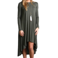 Army Green Piko Long Sleeve High Low Dress