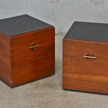 Pair of Lane Rolling Walnut Cube Tables