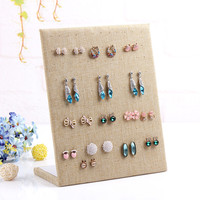 Free shipping 2015 Linen Material display shelf board pin earrings jewelry display stand earring holder jewelry box store shelf